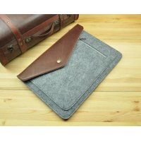 Чехол из войлока Gmakin Macbook air 11.6/13.3 pro 13/ 15 (retina) Felt Silver with brown leather