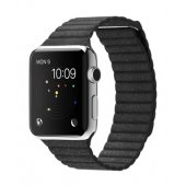 Apple Watch 38/42mm Stainless Steel Case Black Leather Loop