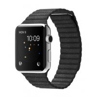 Ремешок для Apple Watch 38/42mm Stainless Steel Case Black Leather Loop