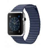 Ремешок для Apple Watch 38/42mm Stainless Steel Case Blue Leather Loop