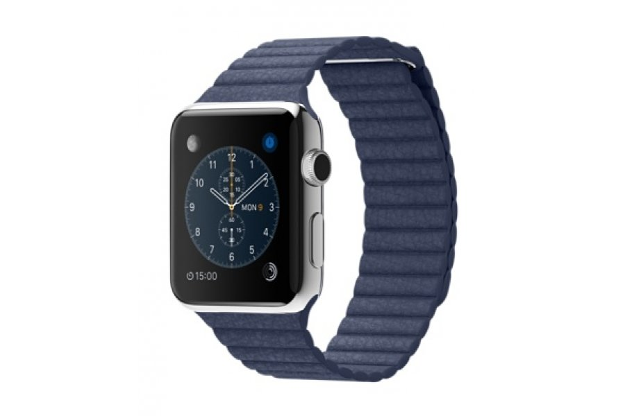 Apple Watch 38/42mm Stainless Steel Case Blue Leather Loop