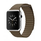 Ремешок для Apple Watch 38/42mm Stainless Steel Case Brown Leather Loop