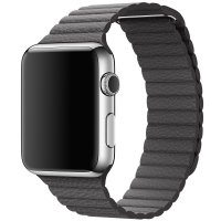 Apple Watch 38/42mm Stainless Steel Case Grey Leather Loop