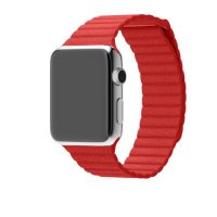 Ремешок для Apple Watch 38/42mm Stainless Steel Case Red Leather Loop