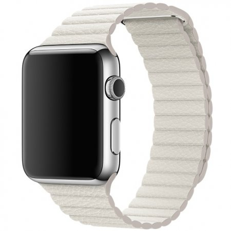 Фото - Apple Watch 38/42mm Stainless Steel Case White Leather Loop