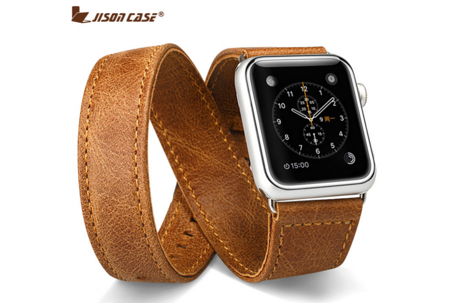Ремешок кожаный JisonCase Extra Long Band Double Tour brown Apple Watch 42mm