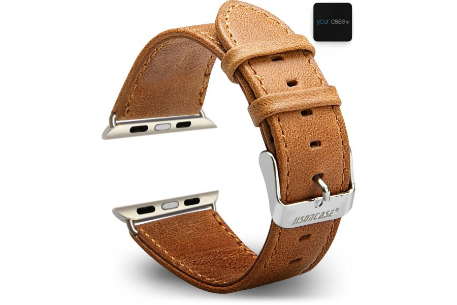 Ремешок кожаный JisonCase classic brown Apple Watch 38/42mm