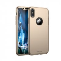 Чехол пластиковый iPhone X IPAKY 360 Full protection Gold