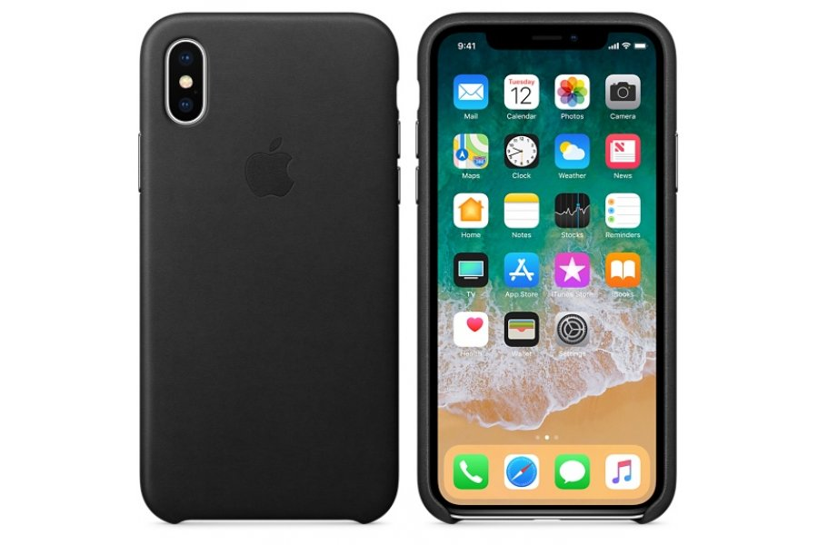 Чехол для iPhone X/Xs Leather Case Black