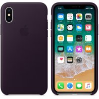 iPhone X/Xs Leather Case - Dark Aubergine