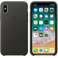 iPhone X Leather Case - Charcoal Grey