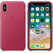 Чехол для iPhone X/Xs Leather Case Pink Fuchsia