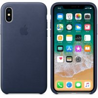 Чехол для iPhone X/Xs Leather Case Midnight Blue