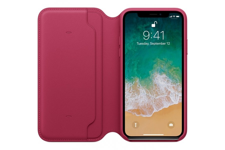 Чехол для iPhone X Leather Folio Berry