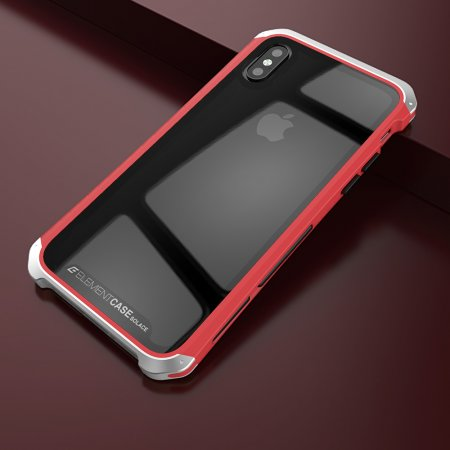 Фото - Чехол Element Case Template Glass For iPhone X/10 Red-Silver