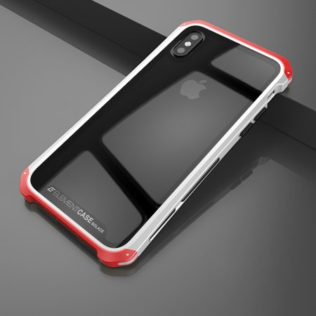 Фото - Чехол Element Case Template Glass For iPhone X/10 Silver-Red