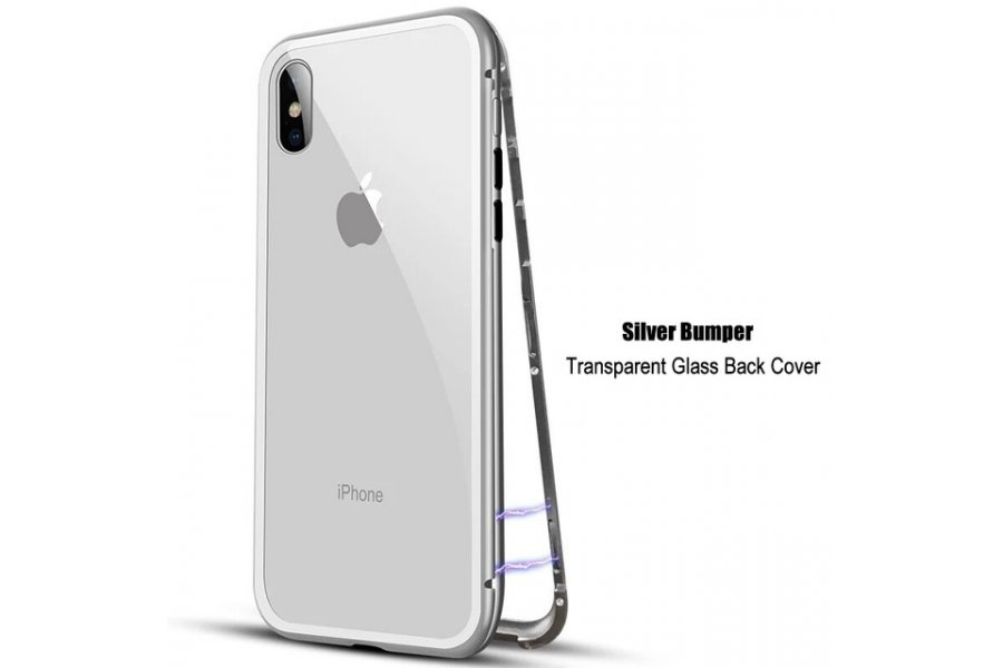 Magnetic Metal Bumper Silver для iPhone X/Xs