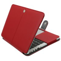 Чехол Mosiso PU Leather Book Case для MacBook Pro 13 - DarkRed