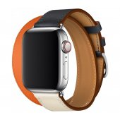 Ремешок Apple Watch Hermes 38/40/42/44mm Indigo/Craie/Orange Swift