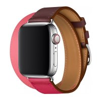 Ремешок Apple Watch Hermes 38/40/42/44mm Bordeaux/Rose/Rose Azalee