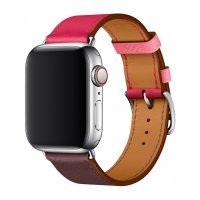 Ремешок Apple Watch Hermes 38/40/42/44mm Bordeaux/Rose Azalee/Rose