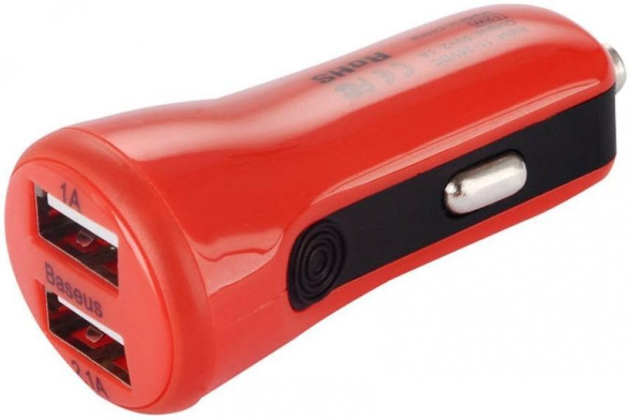 Baseus 2.1A Dual USB Car Charger Tiny-Color Red
