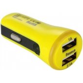 Baseus 2.1A Dual USB Car Charger Tiny-Color Yellow