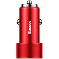 Baseus Small Screw Dual-USB Quick Charge Car Charger 36W Red