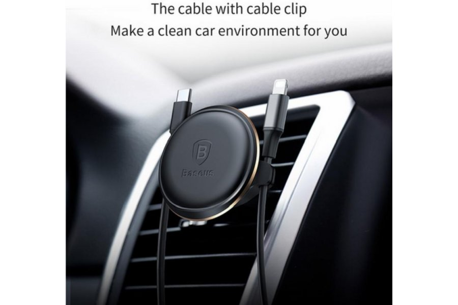Baseus Magnetic Air Vent Car Mount Holder with cable clip Black