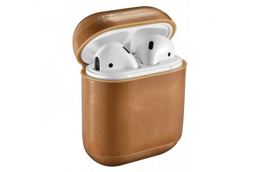 Кожаный чехол для AirPods Vintage Leather Case - Light Brown