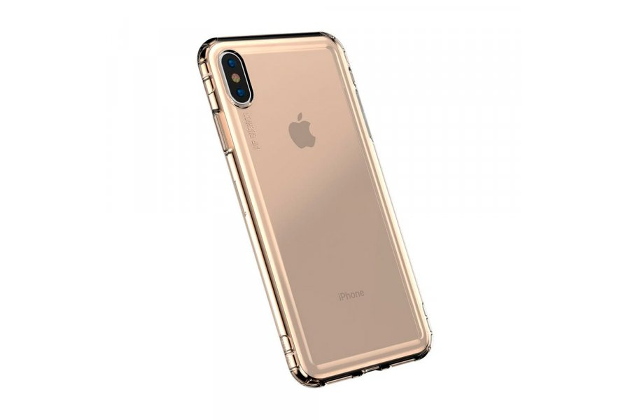 Противоударный чехол Baseus Safety Airbags Transparent Gold для iPhone X/XS