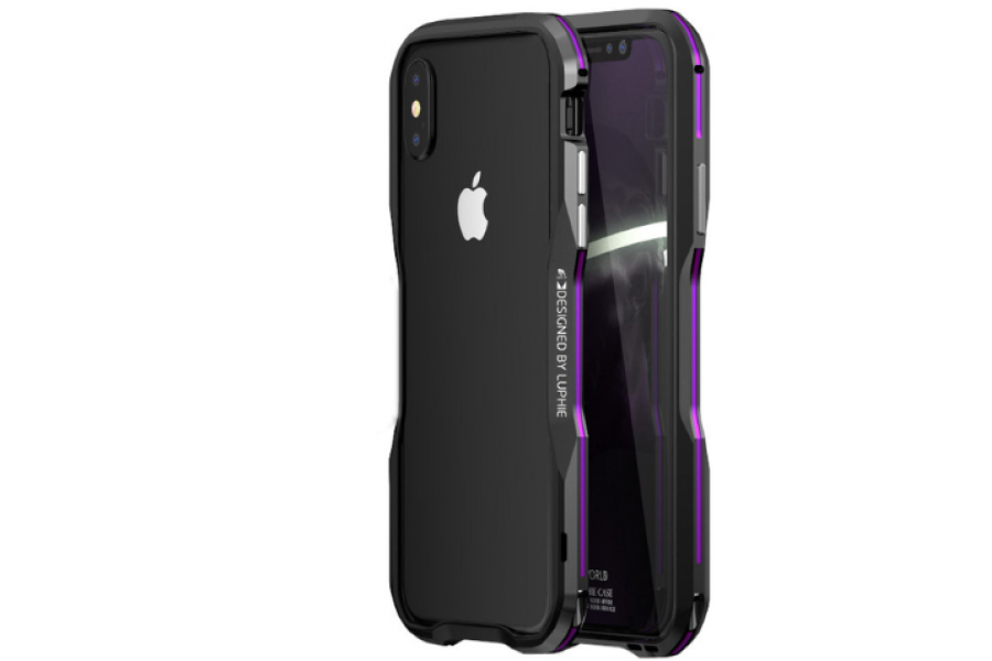 Бампер Luphie Ultra Luxury Black/Purple for iPhone X/Xs