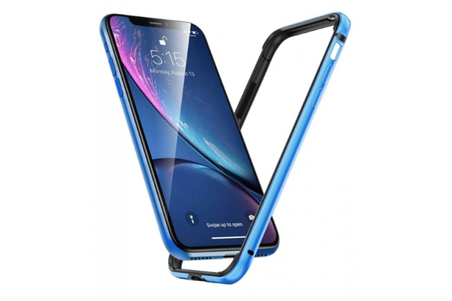 Бампер Silicone-Aluminium для iPhone XR Blue