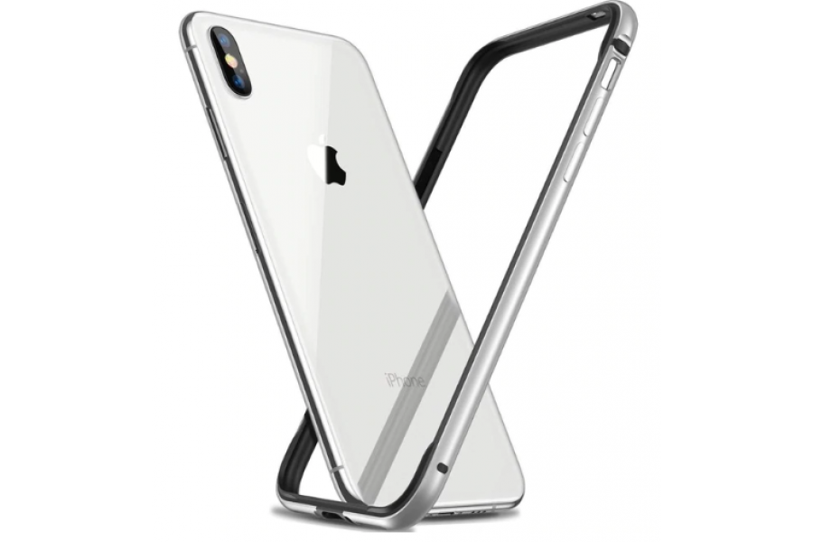 Бампер Silicone-Aluminium для iPhone X/Xs White