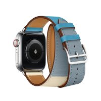 Ремешок для Apple Watch 42/44mm Hermes Double Tour Bleu Lin/Craie/Bleu du Nord