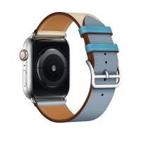 Ремешок для Apple Watch 38/40mm Hermes Single Tour Bleu Lin/Craie/Bleu du Nord