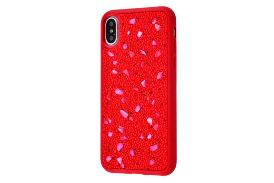 Чехол Bling World Pearl Diamonds (TPU) iPhone X/Xs Red