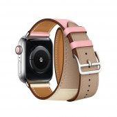 Ремешок для Apple Watch 42/44mm Hermes Double Tour Rose Sakura/Craie/Argile