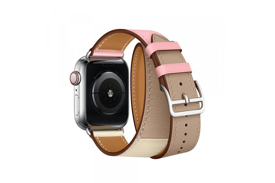 Ремешок для Apple Watch 38/40mm Hermes Double Tour Rose Sakura/Craie/Argile