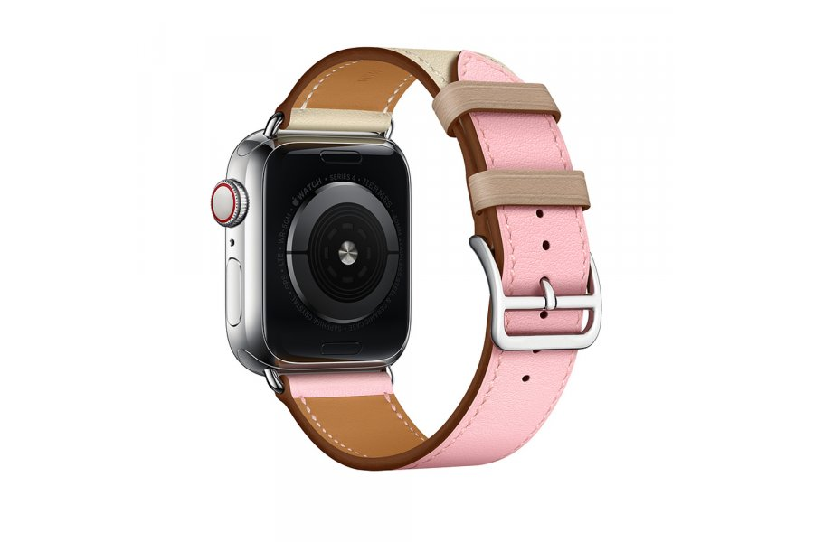 Ремешок для Apple Watch 38/40mm Hermes Single Tour Rose Sakura/Craie/Argile