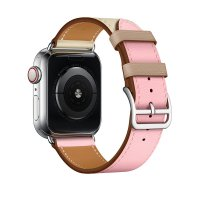 Ремешок для Apple Watch 42/44mm Hermes Single Tour Rose Sakura/Craie/Argile