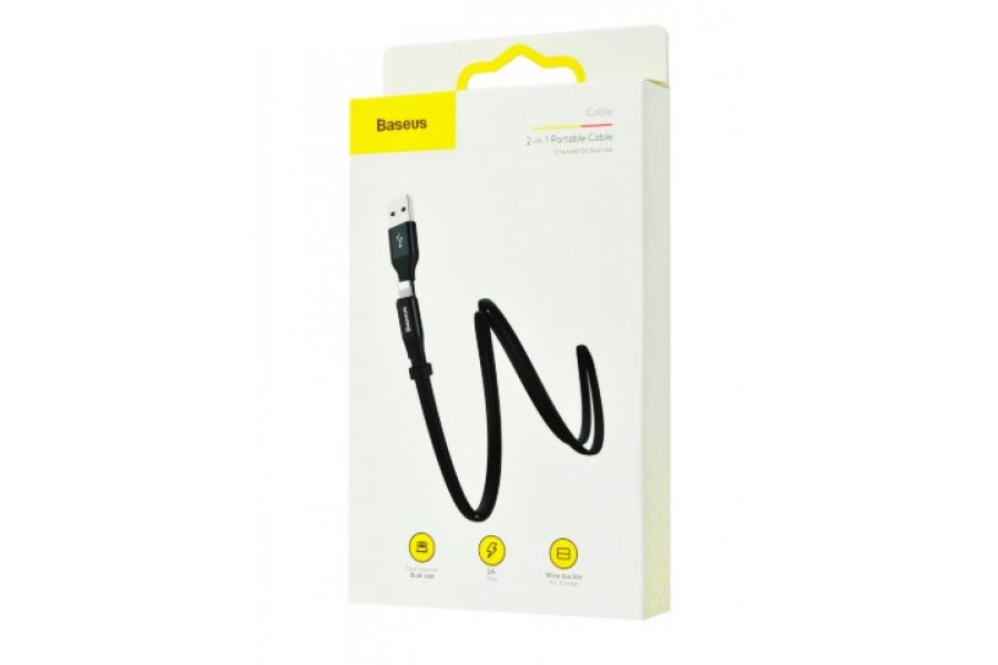 Кабель для зарядки Baseus Nimble 2-1 Cable (Micro/Lightning) (1.2m) Black