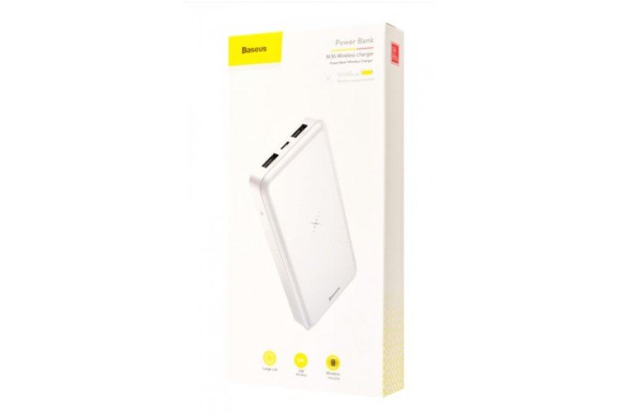 Беспроводное З/У PowerBank Wireless Charger Baseus M36 10000 mAh White
