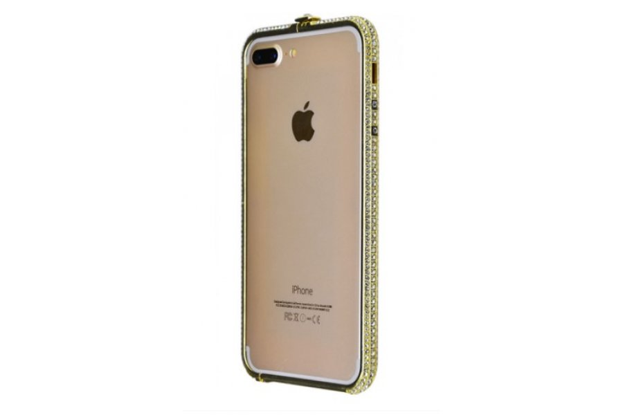 Бампер с камнями Swarovski для iPhone 7/8 Plus Gold