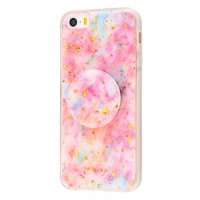 Чехол Confetti mramor case with pop socket для iPhone 5/5s/SE Pink