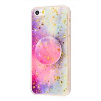 Чехол Confetti mramor case with pop socket для iPhone 5/5s/SE Rose Blue