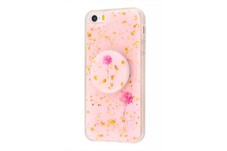 Чехол Confetti mramor case with pop socket для iPhone 5/5s/SE Rose