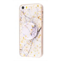 Чехол Confetti mramor case with pop socket для iPhone 5/5s/SE White