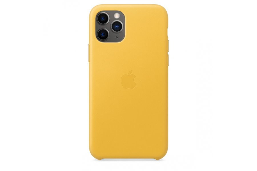 Кожаный чехол Apple Leather Case для iPhone 11 Pro Max Meyer Lemon