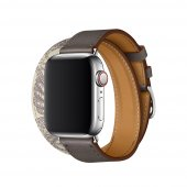 Ремешок для Apple Watch 38/40mm Hermes Double Tour Etain/Beton